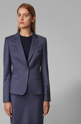 Veste Regular Fit en laine à micromotif, Bleu