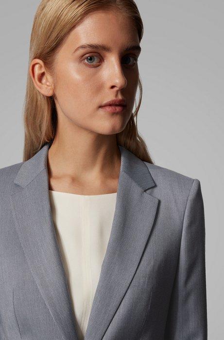 Regular-fit jacket in mirco-patterned wool, Patterned