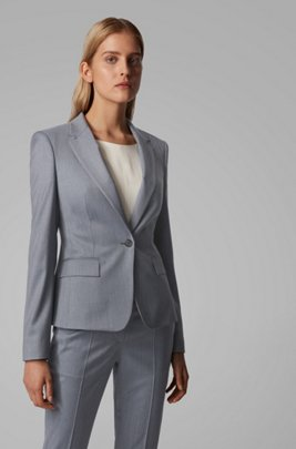 Regular-fit jacket in mirco-patterned wool, Patterned