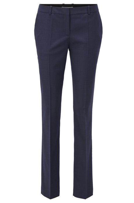 Regular-fit trousers in patterned wool with front crease, Patterned