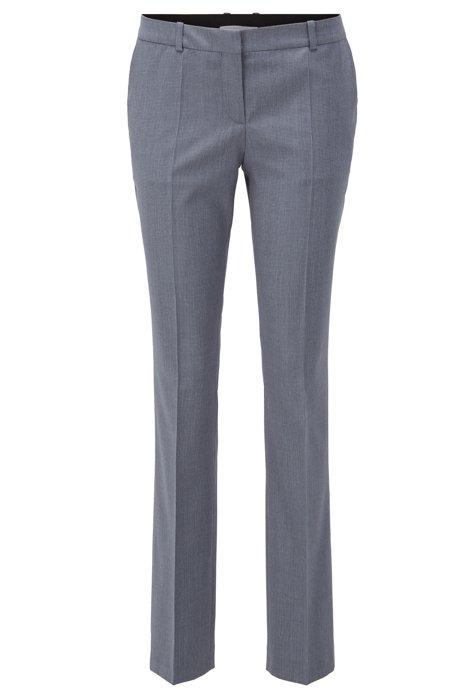 Pantalones regular fit en lana estampada con raya delantera, Fantasía