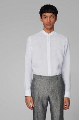 Collarless slim-fit shirt in Italian linen, White