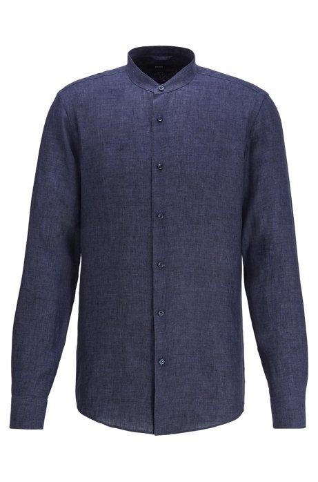 Kragenloses Slim-Fit Hemd aus italienischem Leinen, Dunkelblau