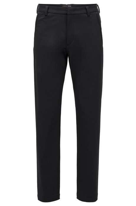 Slim-fit trousers in bi-stretch twill, Black