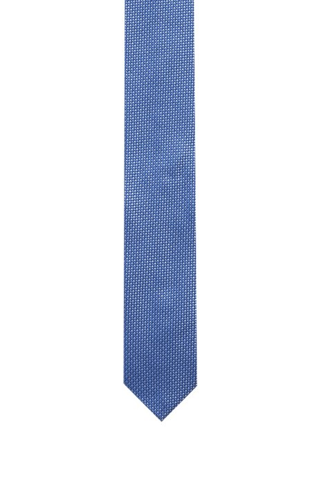 Silk-jacquard tie with micro pattern and pointed tip, Patterned