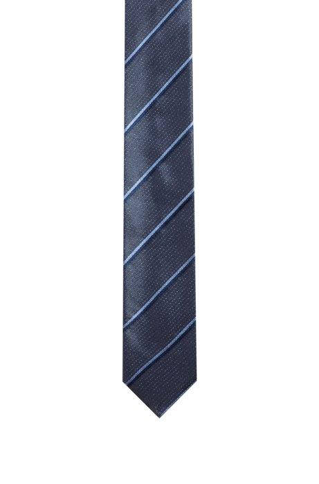 Krawatte aus Seiden-Jacquard mit diagonalen Streifen, Gemustert
