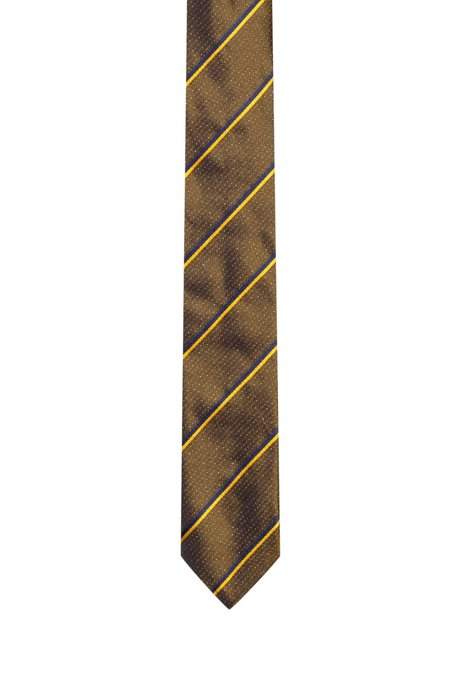 Silk-jacquard tie with diagonal stripes, Brown