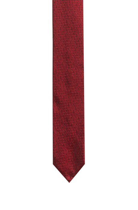 "Silk-jacquard tie with ""HUGO Loves Berlin"" motif, Patterned"