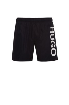 Logo swim shorts in quick-drying fabric, Black