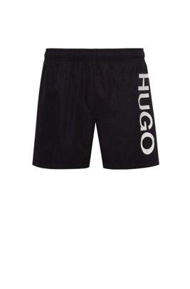Logo swim shorts in quick-drying fabric, Black
