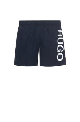 Bañador tipo shorts en tejido de secado rápido con logo, Azul oscuro