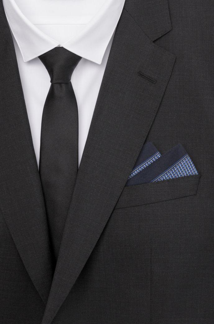 Carré de poche en twill de soie à motif géométrique