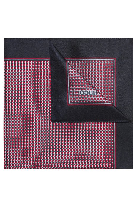 Geometric-patterned pocket square in silk twill, Patterned