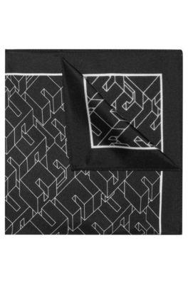 Zijden pochet met 3D-effectdessin, Bedrukt