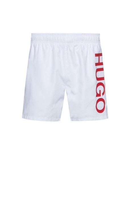 Quick-drying swim shorts with logo print, White