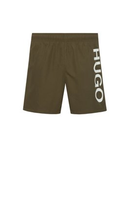Quick-drying swim shorts with logo print, Khaki