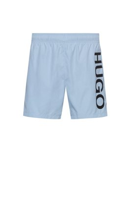 Quick-drying swim shorts with logo print, Light Blue