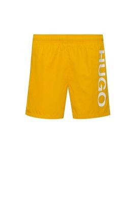 Quick-drying swim shorts with logo print, Yellow