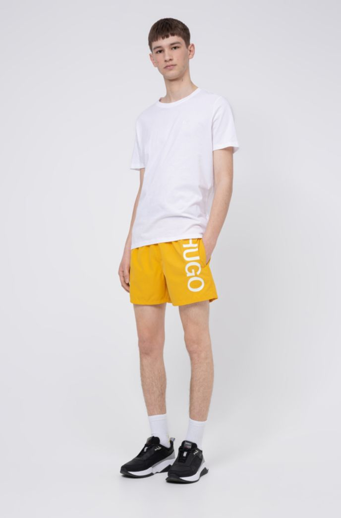 Quick-drying swim shorts with logo print