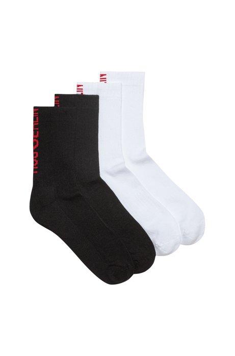Zweier-Pack kurze Socken aus Baumwoll-Mix mit Slogan-Intarsien, Gemustert
