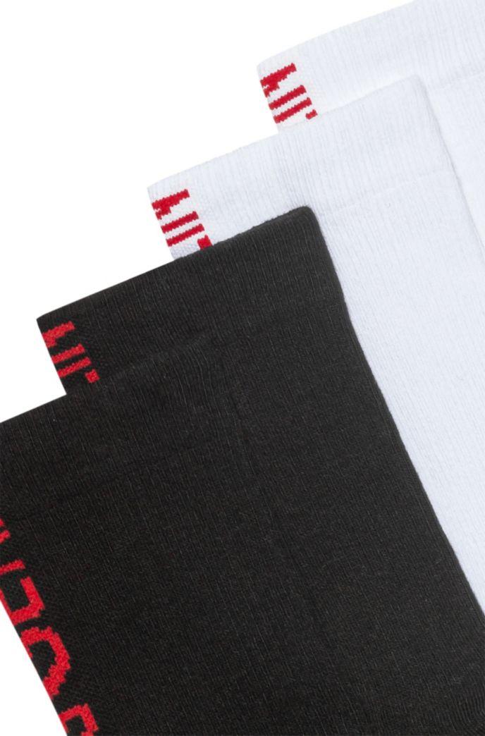 Zweier-Pack kurze Socken aus Baumwoll-Mix mit Slogan-Intarsien