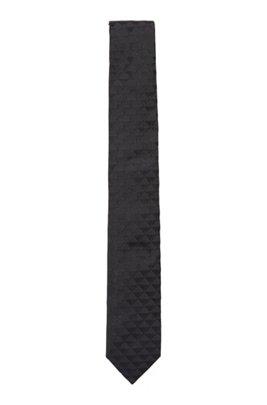 Corbata elaborada a mano en jacquard de seda italiana, Azul oscuro