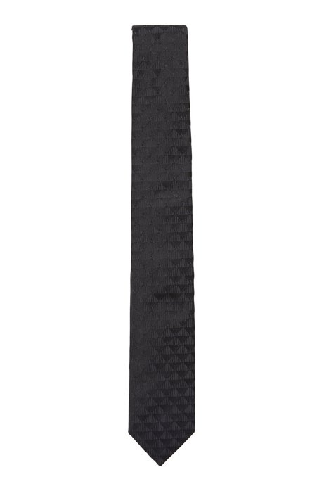 Met de hand vervaardigde stropdas in een jacquard van Italiaanse zijde, Donkerblauw