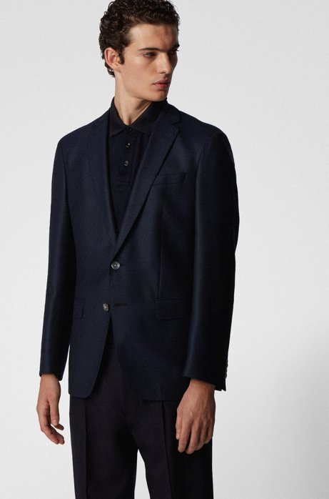 Slim-fit jacket in micro-patterned traceable wool, Dark Blue