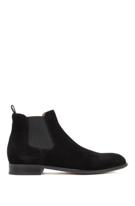 Calf-suede Chelsea boots with monogram-print gusset, Black