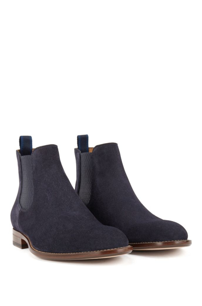 Calf-suede Chelsea boots with monogram-print gusset