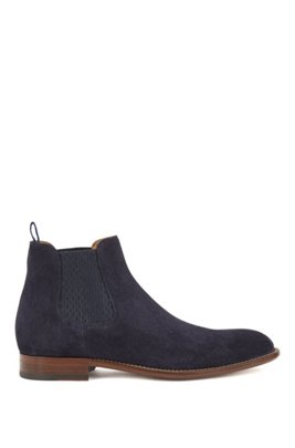 Calf-suede Chelsea boots with monogram-print gusset, Dark Blue