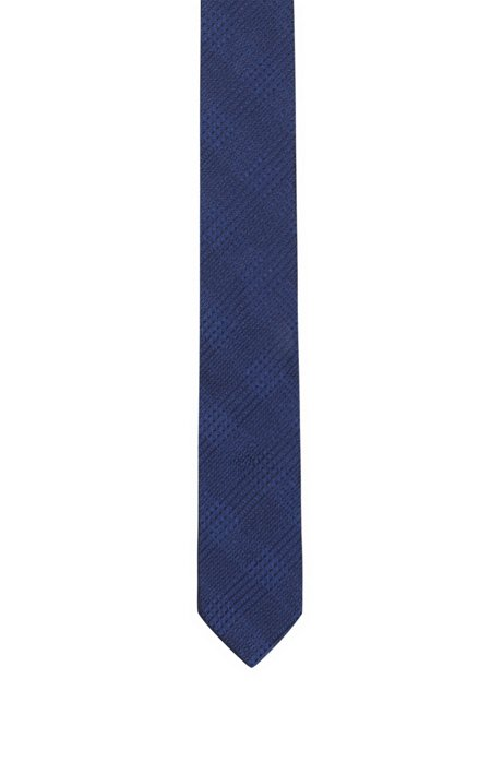 Geometric-patterned tie in silk jacquard, Blue