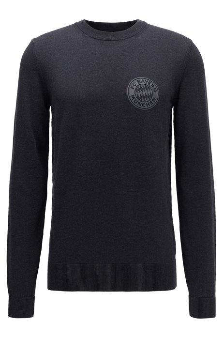 Cotton sweater with FC Bayern Munich badge, Grey