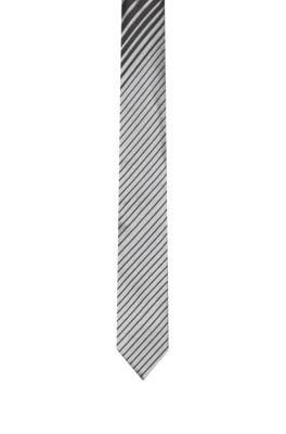Stropdas in een jacquard van zijde met diagonale dégradé streep, Zwart