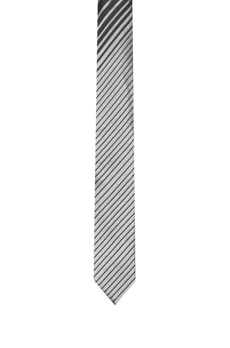 Silk-jacquard tie with dégradé diagonal stripe, Black