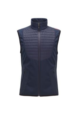 Water-repellent lightweight gilet with padded panels, Dark Blue