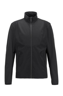 Water-repellent packable jacket in micro-structured stretch fabric, Black