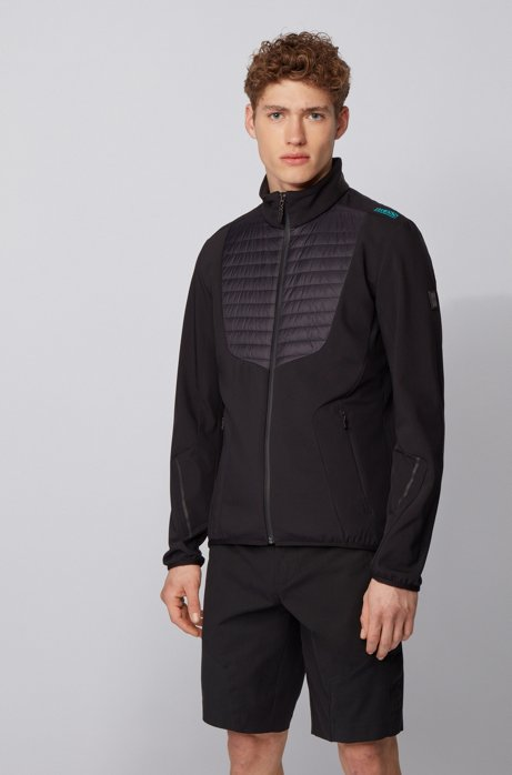 Water-repellent jacket with padded front and dynamic cutlines, Black