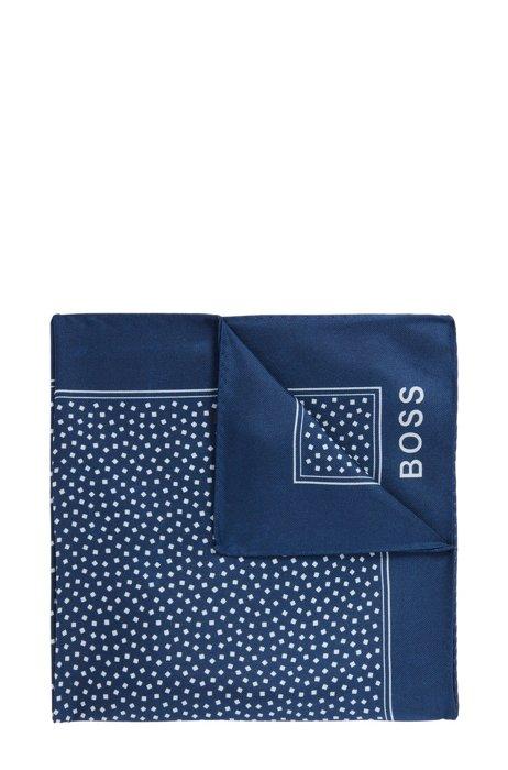 Silk pocket square with all-over digital print, Dark Blue