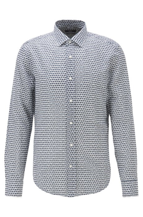 Printed slim-fit shirt in cotton with linen, Dark Blue