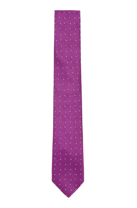 Cravatta in seta italiana jacquard a pois, Rosa scuro