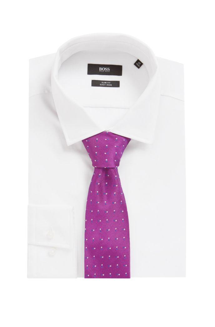 Krawatte aus italienischer Seide mit feinen Jacquard-Punkten