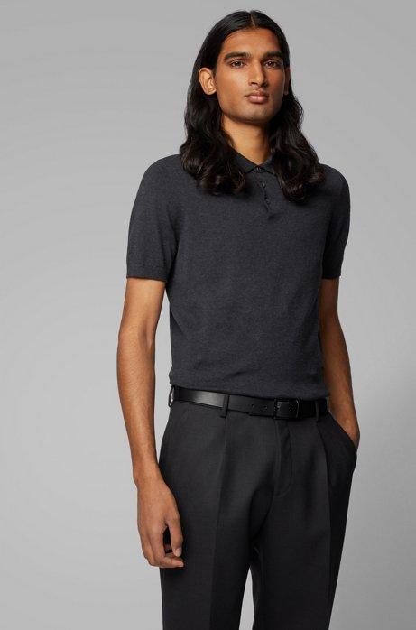 Kurzarm-Pullover aus reiner Baumwolle, Grau