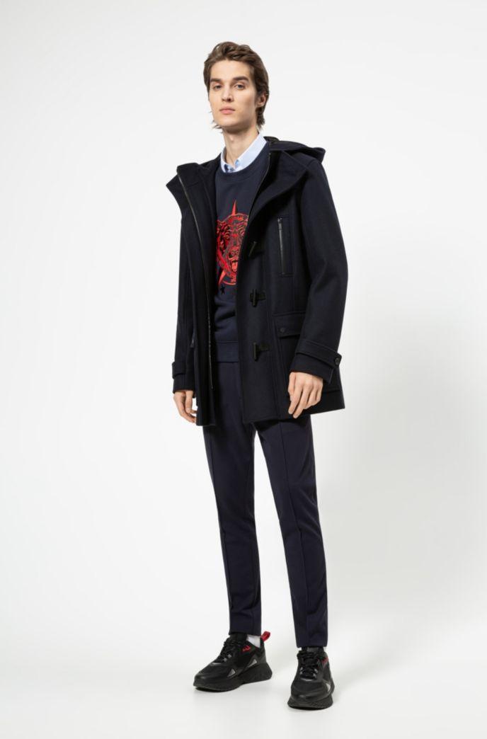 Duffle-coat Slim Fit en laine vierge mélangée