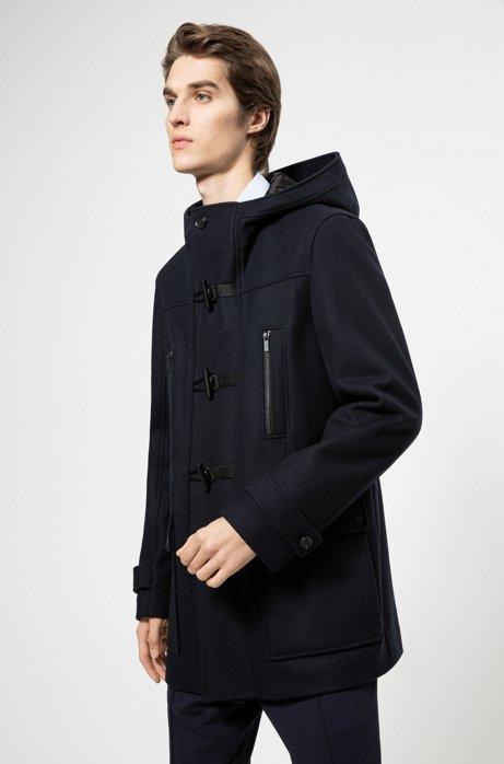 Duffle-coat Slim Fit en laine vierge mélangée, Bleu foncé