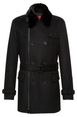 Slim-fit trench coat with faux-fur collar, Black