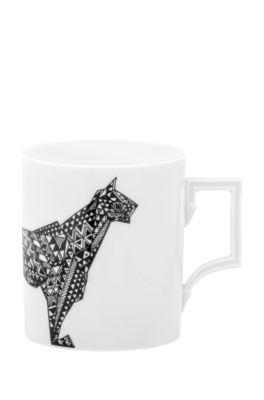 Limitierter Becher aus Porzellan mit Leopardenmotiv, Weiß
