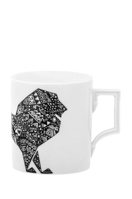 Tasse en porcelaine à motif lion, en édition limitée, Blanc