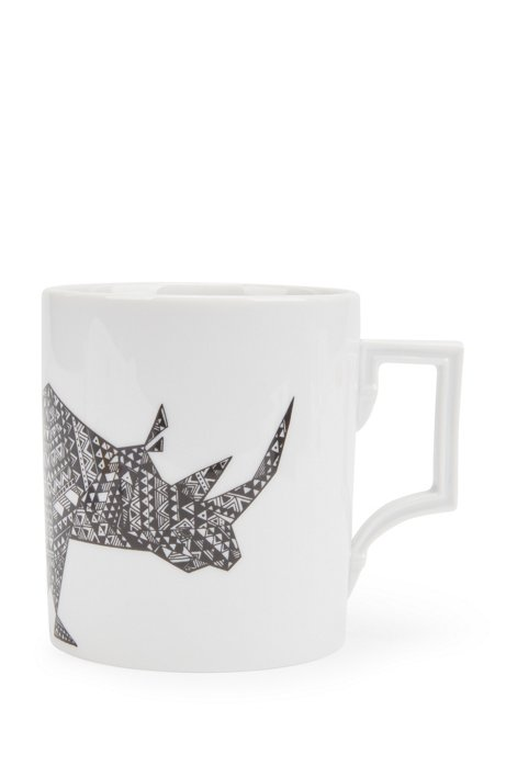 Limited-edition porcelain mug with rhino motif, White