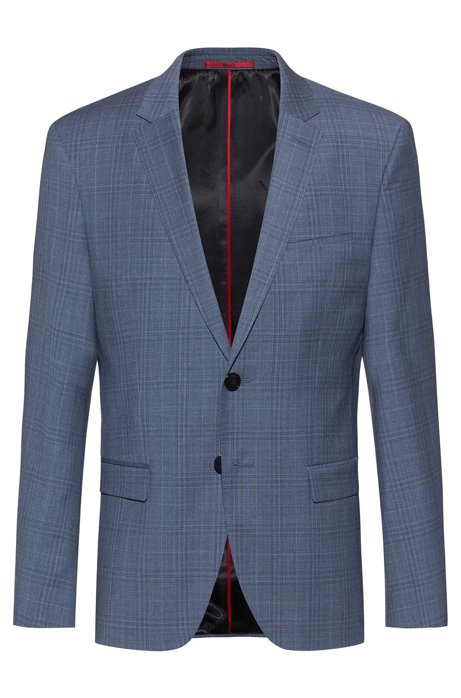 Extra-slim-fit jacket in checked virgin wool, Patterned